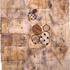 Vintage paper, fabric, stain, paint, pencil, pen, and pyrography on paper