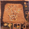 Reclaimed canvas, thread, vintage textiles, paper, pencil, ink, stain, paint, nails, encaustic, and pyrography on wood