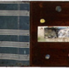 Vintage fabric, reclaimed canvas, photographs,  silverware, nails, paint, pencil, encaustic and pyrography on wood