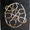 Tar paper, thread, vintage paper, pencil, cut tin, wire, encaustic and pyrography on paper